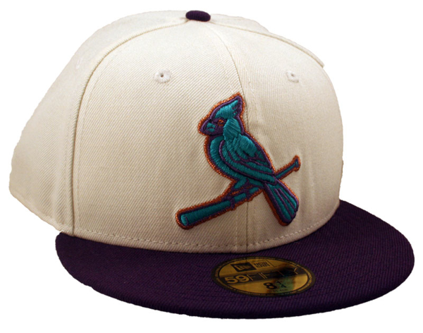 """Picture of New Era St. Louis Cardinals CC White/Purple """"Bird"""" 5950 Fitted Cap"""