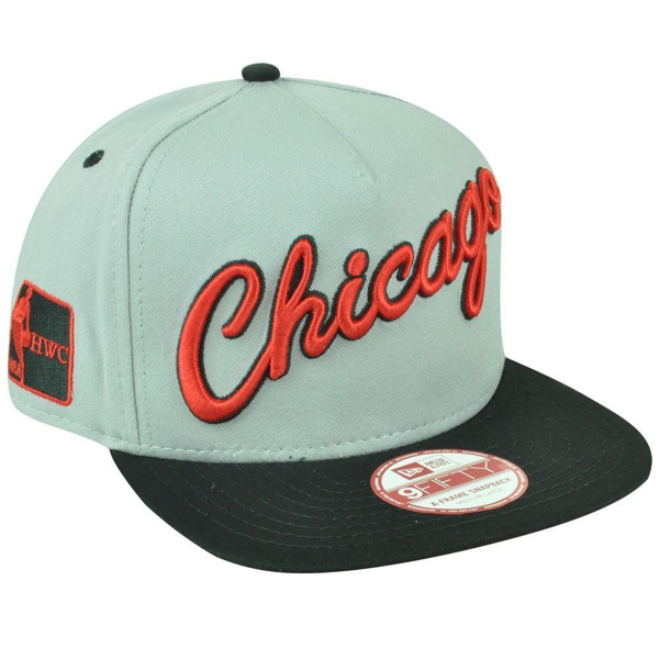 Picture of Chicago Bulls New Era Grey/Black Word Logo 9FIFTY Adjustable Snapback Hat - Grey/Black