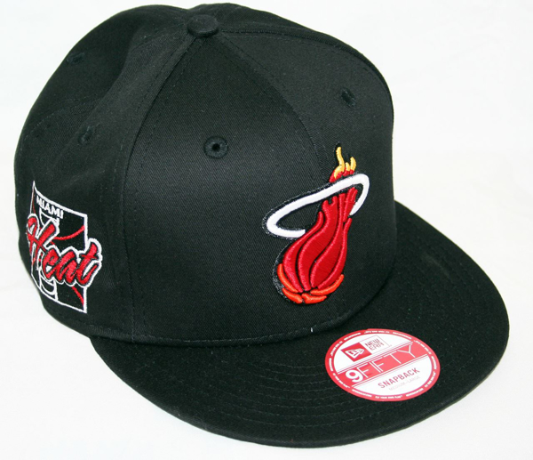 newest 41496 13fb6 Picture of Nba New Era 9fifty 950 Miami Heat Primary Fan Snapback Flat Bill  Black Hat