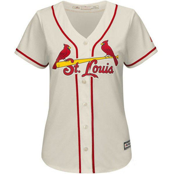 Picture of Women's St. Louis Cardinals Majestic Cream Alternate Cool Base Jersey