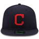 Picture of Cleveland Indians New Era Road Authentic Collection On Field 59FIFTY Fitted Hat - Navy