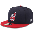 Picture of Cleveland Indians New Era Home Authentic Collection On Field 59FIFTY Fitted Hat - Navy/Red