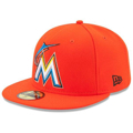 Picture of Miami Marlins New Era Road Authentic Collection On-Field 59FIFTY Performance Fitted Hat - Orange