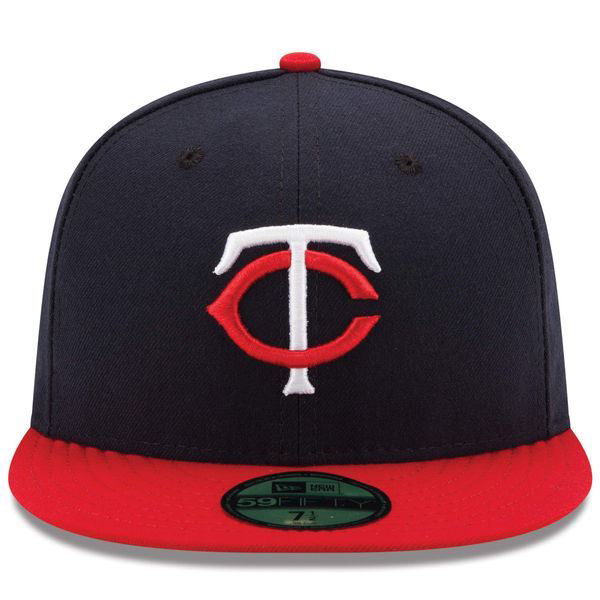 Picture of Minnesota Twins New Era Road Authentic Collection On-Field 59FIFTY Fitted Hat - Navy/Red