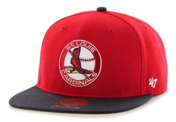 Picture of St Louis Cardinals '47 Brand Cooperstown Sure Shot Two Tone Captain Wool Snapback Adjustable Hat
