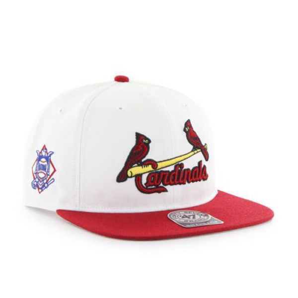 Picture of St Louis Cardinals '47 Brand White Sure Shot Two Tone Captain Wool Snapback Adjustable Hat
