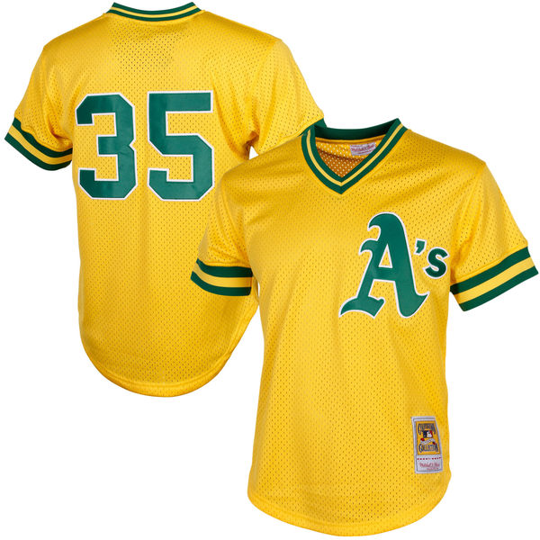 Picture of Men's Oakland Athletics Rickey Henderson Mitchell & Ness Yellow Cooperstown Mesh Batting Practice Jersey