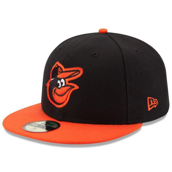 Picture of Men's Baltimore Orioles New Era Black/Orange Road Authentic Collection On-Field 59FIFTY Fitted Hat