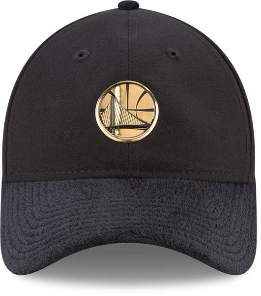 Picture of New Era Golden State Warriors NBA 2017 Draft Official On Court Collection 9TWENTY Gold Emblem Black Adjustable Hat