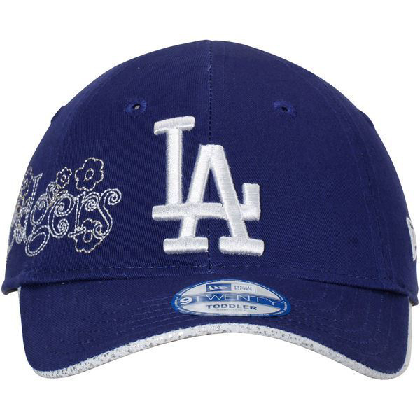 Picture of Girls Toddler Los Angeles Dodgers New Era Royal Glitter Stitch 9TWENTY Adjustable Hat