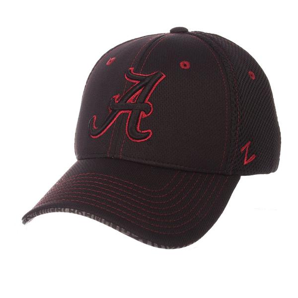 "Picture of Alabama Crimson Tide Zephyr Black ""Undertaker"" Mesh Stretch Fit Hat Cap"