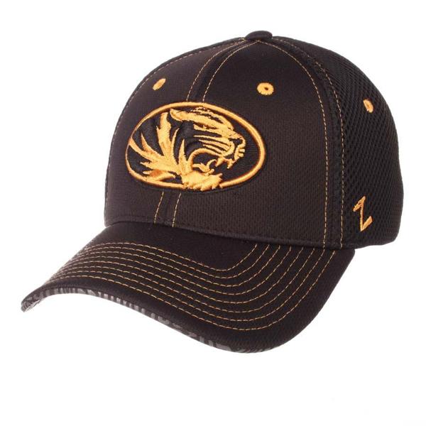 "Picture of Missouri Tigers Zephyr Black ""Undertaker"" Mesh Stretch Fit Hat Cap"