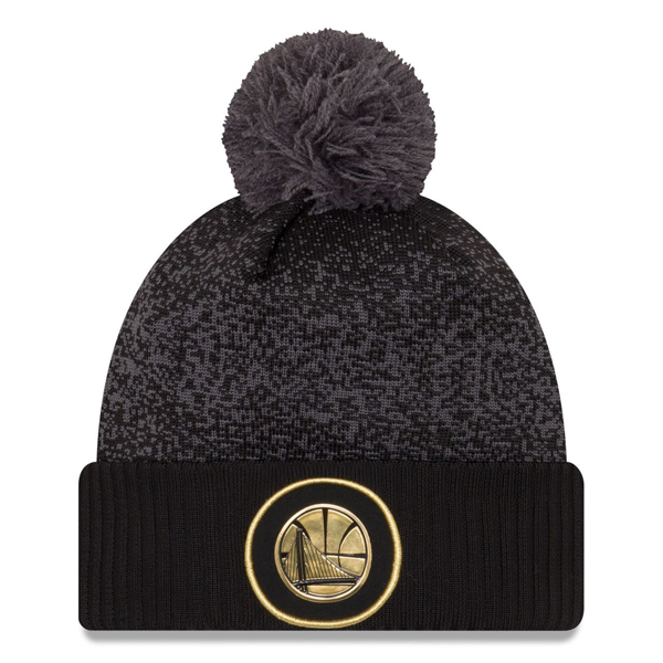 Picture of Golden State Warriors New Era Knit Hat Gold Black NBA 2017 On Court Beanie Cap