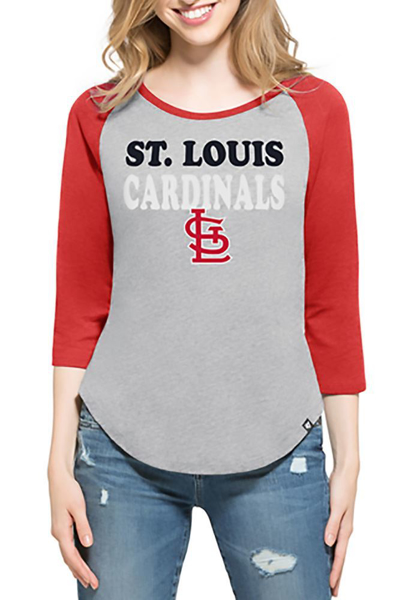 Picture of '47 St Louis Cardinals Womens Grey Club Raglan Long Sleeve Crew T-Shirt