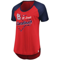 Picture of St. Louis Cardinals Majestic Women's Game Shake-Up Raglan T-Shirt – Red