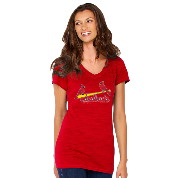 Picture of St. Louis Cardinals Soft as a Grape Women's Birds on Bat  V-neck Short Sleeve T-Shirt - Red