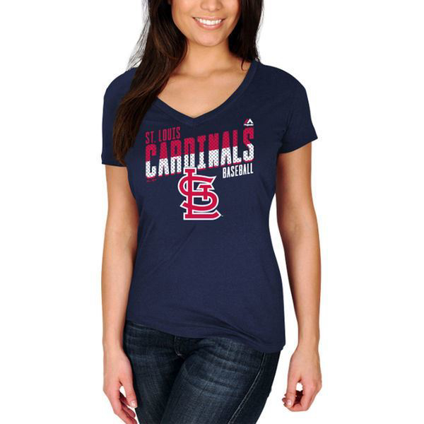 Picture of Women's St. Louis Cardinals Majestic Navy Crank Up the Heat T-Shirt