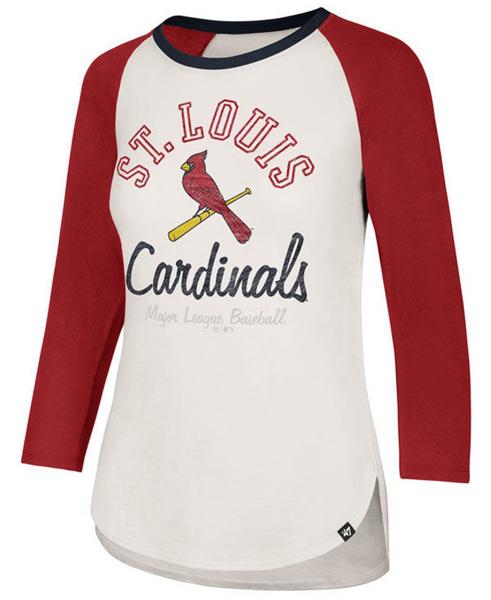 Picture of '47 Brand  Women's St. Louis Cardinals Arch Splitter Vintage Raglan T-Shirt