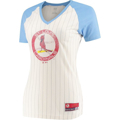 Picture of Women's St. Louis Cardinals Majestic Natural Concept of Winning Pinstripe V-Neck Raglan T-Shirt