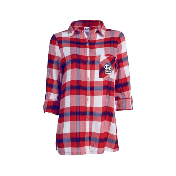 Picture of Women's St. Louis Cardinals Red Flannel Button-Up Long Sleeve Shirt
