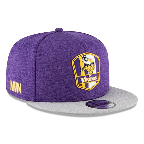 Picture of Men's Minnesota Vikings New Era Purple/Heather Gray 2018 NFL Sideline Road Official 9FIFTY Snapback Adjustable Hat