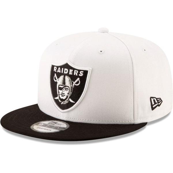 Picture of Men's Oakland Raiders New Era White/Black Basic 9FIFTY Adjustable Snapback Hat