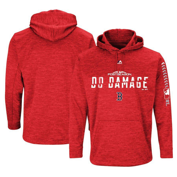Picture of Men's Boston Red Sox Majestic Red 2018 Postseason Authentic Collection Streak Fleece Sweatshirt