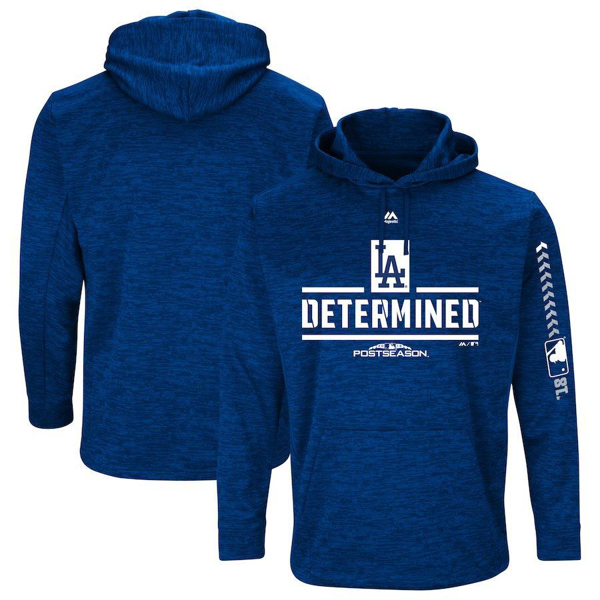 Picture of Men's Los Angeles Dodgers Majestic Royal 2018 Postseason Authentic Collection Streak Fleece Pullover Hoodie
