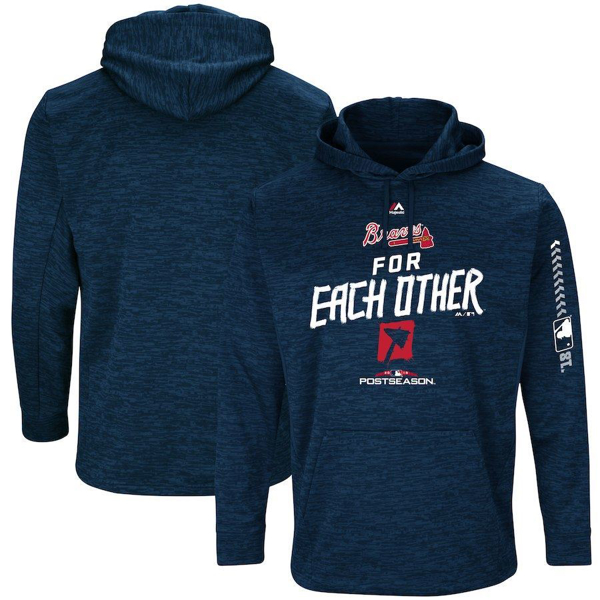 Picture of Men's Atlanta Braves Majestic Navy 2018 Postseason Authentic Collection Streak Fleece Pullover Hoodie