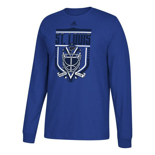 Picture of Men's St. Louis Blues Adidas Blue Hockey Club Long Sleeve T-Shirt
