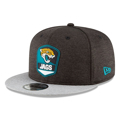 Picture of New Era Jacksonville Jaguars Black/Heather Gray 2018 NFL Sideline Road Official 9FIFTY Snapback Adjustable Hat