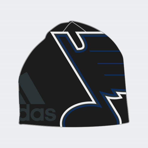 the best attitude df8fd 609cc Picture of St. Louis Blues Glow in The Dark Adidas Oversized Logo Knit  Beanie –