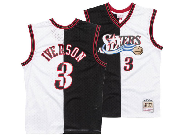 Picture of Philadelphia 76ers Allen Iverson Mitchell & Ness NBA Men's Split Swingman Jersey