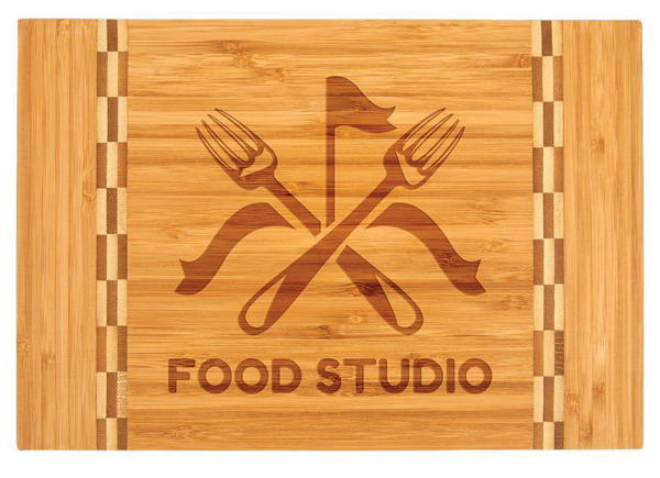 Picture of Personalized Bamboo Butcher's Block Cutting Board with Checkered Inlay