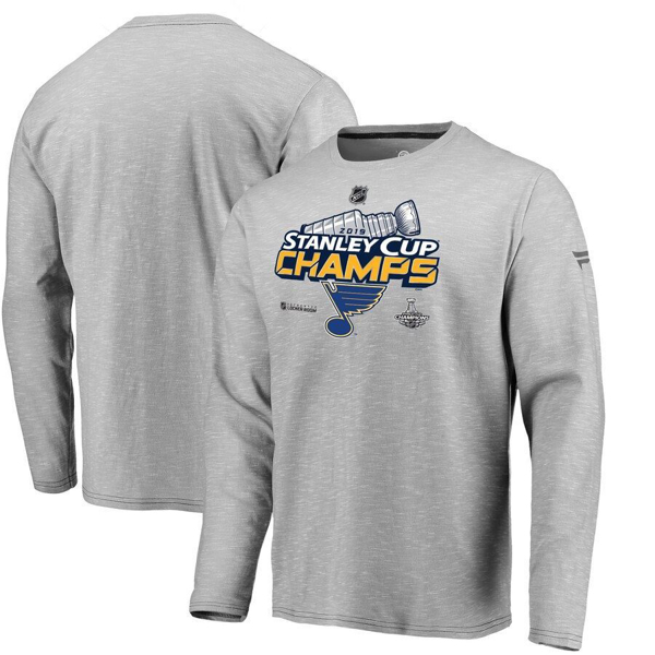 Picture of St. Louis Blues Fanatics Branded 2019 Stanley Cup Champions Locker Room Long Sleeve T-Shirt - Gray
