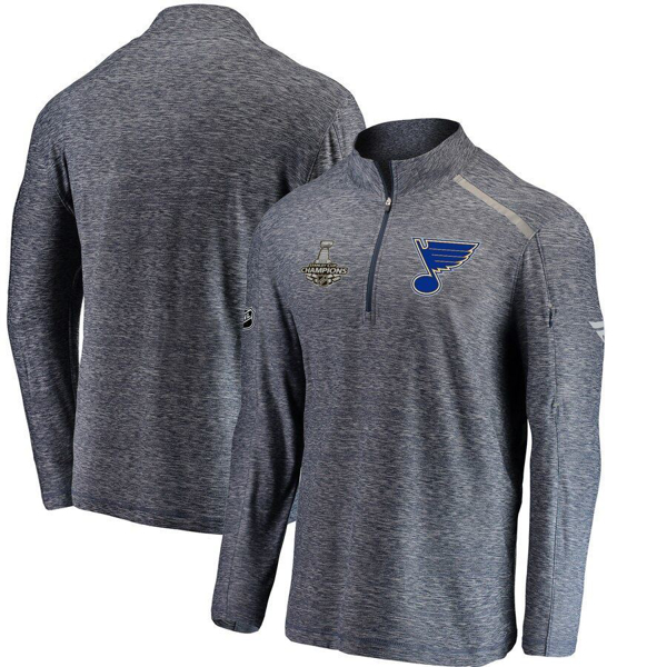 Picture of Men's St. Louis Blues Fanatics Branded Navy 2019 Stanley Cup Champions Clutch Collection Quarter-Zip Pullover Sweatshirt