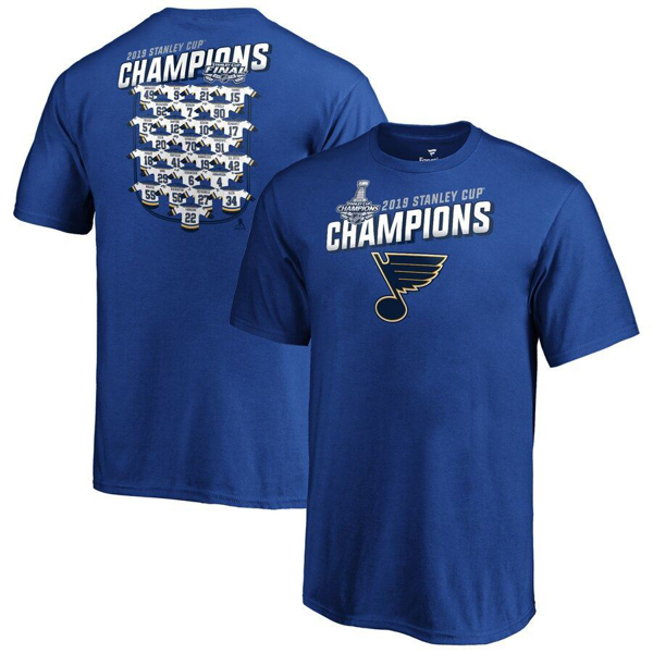 Picture of St. Louis Blues Fanatics Branded Royal 2019 Stanley Cup Champions Jersey Roster T-Shirt