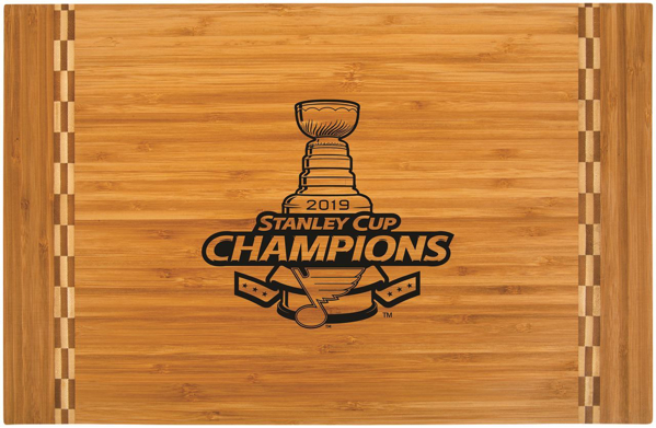 "Picture of St. Louis Blues Stanley Cup  18 1/4"" x 12"" Bamboo Cutting Board with Butcher Block Inlay"