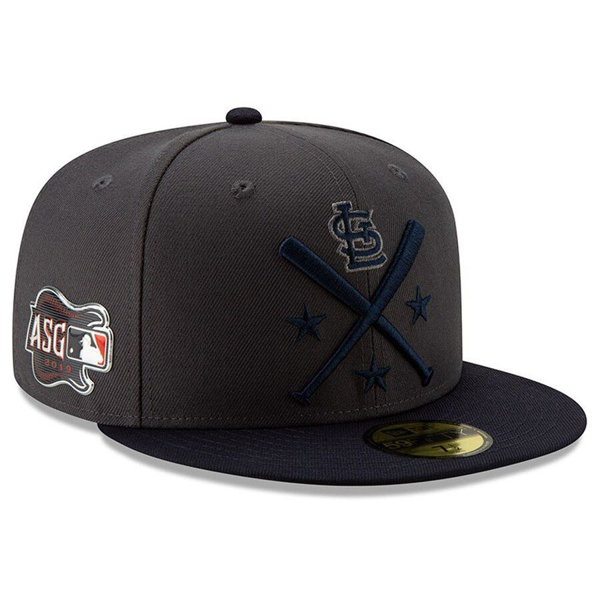Picture of Men's St. Louis Cardinals New Era Graphite/Navy 2019 MLB All-Star Workout On-Field 59FIFTY Fitted Hat