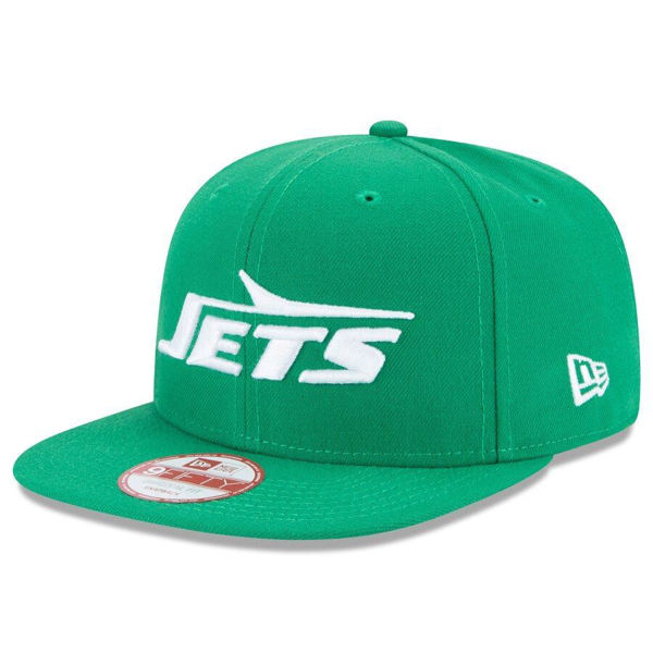 Picture of Men's New York Jets New Era Kelly Green Wordmark Omaha Historic Logo Baycik 9FIFTY Snapback Adjustable Hat