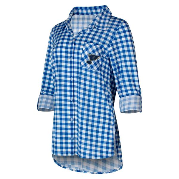 St. Louis Blues Concepts Sport Women's Piedmont Flannel Long Sleeve Button-Up Shirt - Royal/White
