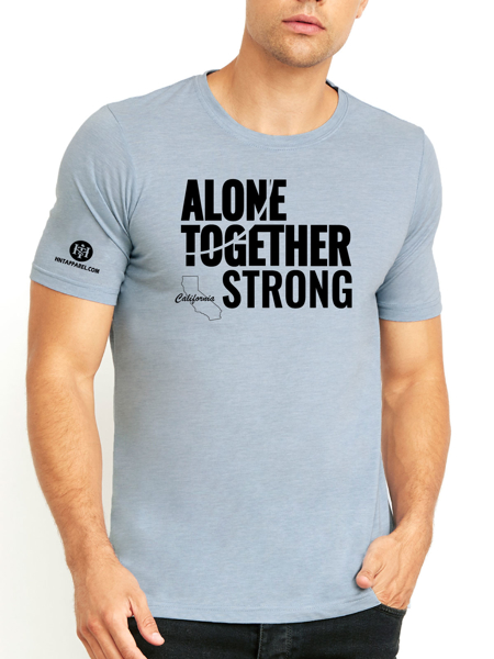 California Alone Together Stay Strong Next Level Tee Stonewash Denim