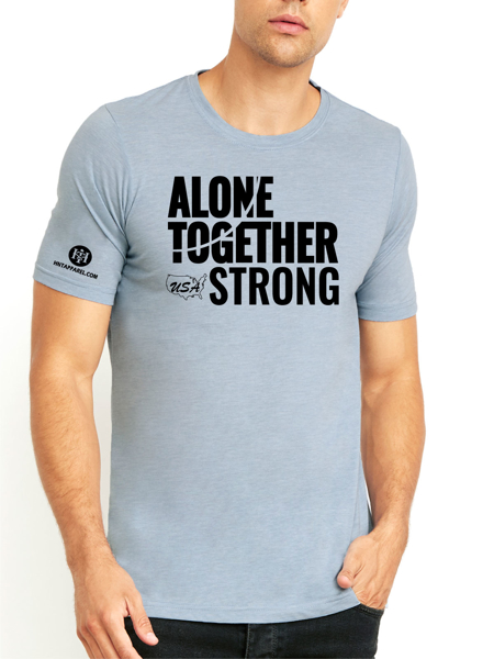 USA Alone Together Stay Strong Next Level Tee Silver