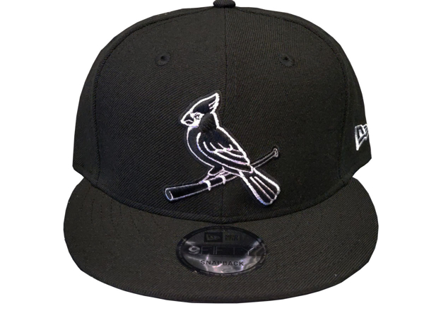 St. Louis Cardinals Custom New Era 5950 Fitted Black Cap with Birds on the Bat in White and Black