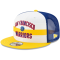Men's New Era White/Royal Golden State Warriors Hardwood Classics Nights Stripe 9FIFTY Adjustable Hat