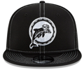 Men's Miami Dolphins New Era Black 2019 NFL Sideline Road Historic Logo 9FIFTY Snapback Adjustable Hat