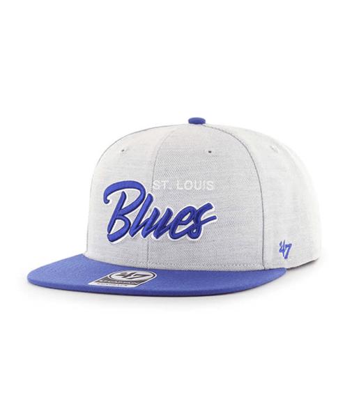 St. Louis Blues 47' Brand Captain Gray Street Script Adjustable Snapback Hat