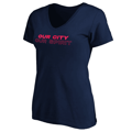 Women's St. Louis City SC Fanatics Branded Navy Our City Our Spirit V-Neck T-Shirt