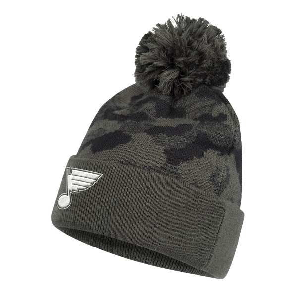 Men's St. Louis Blues adidas Camo Military Cuffed Pom Knit Hat