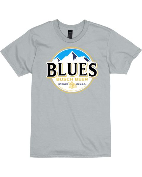 Blues Busch Light Beer T-Shirt Custom Designed Color Label Pattern